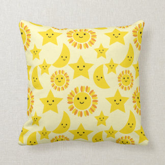 Sun star moon throw pillows