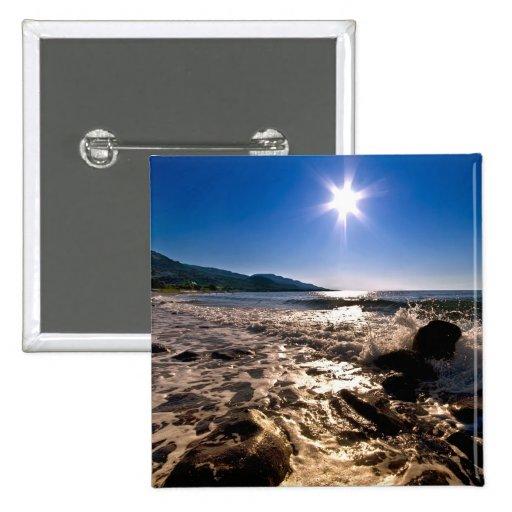Sun Star Over The Sea 2 Inch Square Button