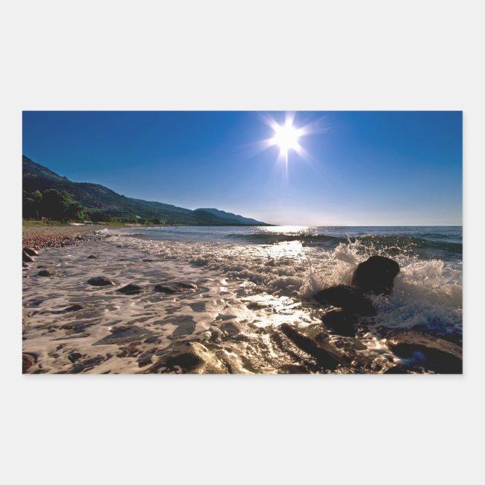 Sun Star Over The Sea Rectangular Sticker