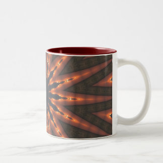 Sun star spirals fractal pattern design Two-Tone coffee mug