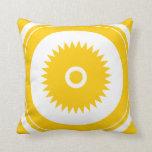 Sun star yellow white throw pillow