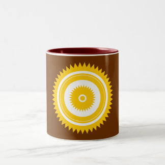 Sun star yellow-white Two-Tone coffee mug