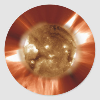 Sun Storm Taken From The SOHO Orbiting Space Lab Classic Round Sticker