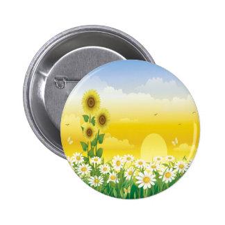 Sun Sunflowers White Flowers Pinback Button