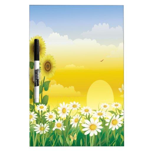 Sun, Sunflowers, White Flowers Dry-Erase Board