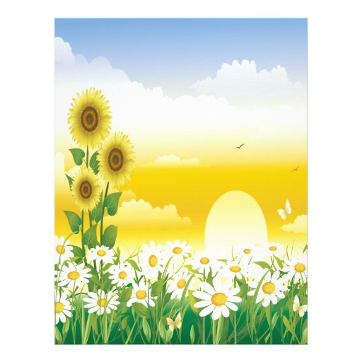 Sun, Sunflowers, White Flowers Customized Letterhead