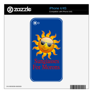 Sun Sunglasses for Morons Decals For iPhone 4S