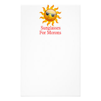 Sun Sunglasses for Morons Stationery