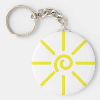 sun sunshine basic round button keychain
