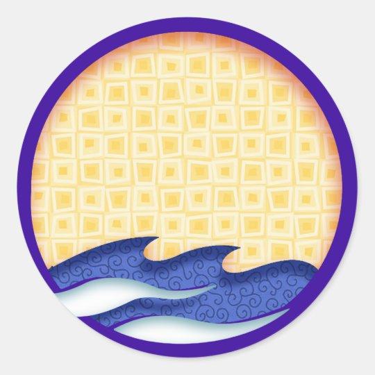 Sun & Surf Graphic Logo Classic Round Sticker