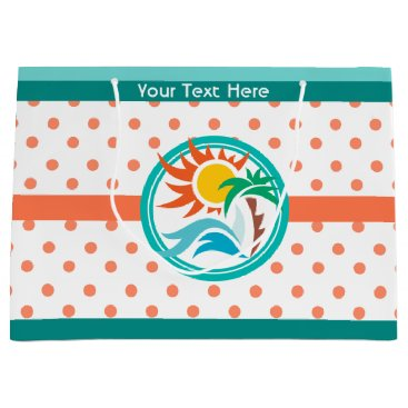 Beach Themed Sun & Surf (Orange Dots) Large Gift Bag
