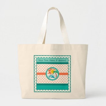 Beach Themed Sun & Surf (Orange Dots) Large Tote Bag