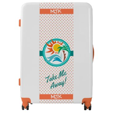 Beach Themed Sun & Surf (Orange Dots) Luggage