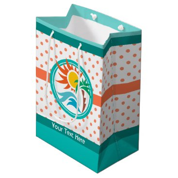 Beach Themed Sun & Surf (Orange Dots) Medium Gift Bag