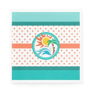 Beach Themed Sun & Surf (Orange Dots) Paper Napkin