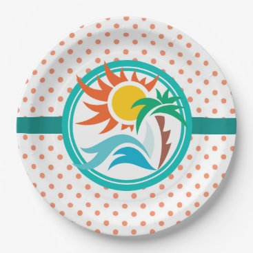 Beach Themed Sun & Surf (Orange Dots) Paper Plate