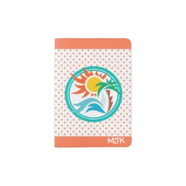 Beach Themed Sun & Surf (Orange Dots) Passport Holder