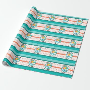Beach Themed Sun & Surf (Orange Dots) Wrapping Paper