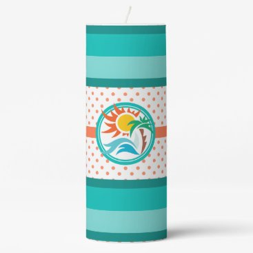Beach Themed Sun & Surf Pillar Candle