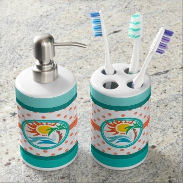 Beach Themed Sun & Surf Soap Dispenser And Toothbrush Holder