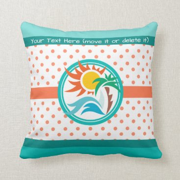 Beach Themed Sun & Surf Throw Pillow