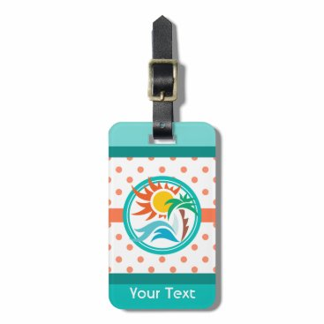 Beach Themed Sun & Surf (Vertical) Bag Tag