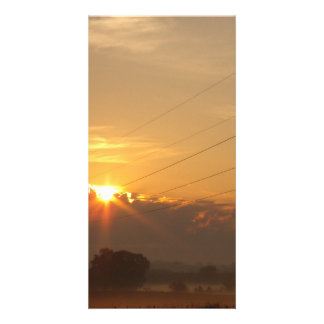 Sun surfaces above the clouds over foggy Pasture Card
