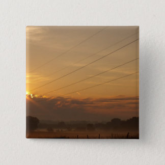 Sun surfaces above the clouds over foggy Pasture Pinback Button