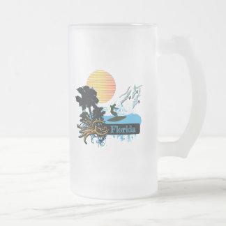 Sun Surfer Palms & Gulls FLORIDA Frosted Glass Beer Mug
