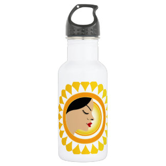 Sun tan- A face with a bright yellow sun Stainless Steel Water Bottle