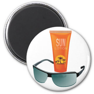 Sun Tan Lotion 2 Inch Round Magnet