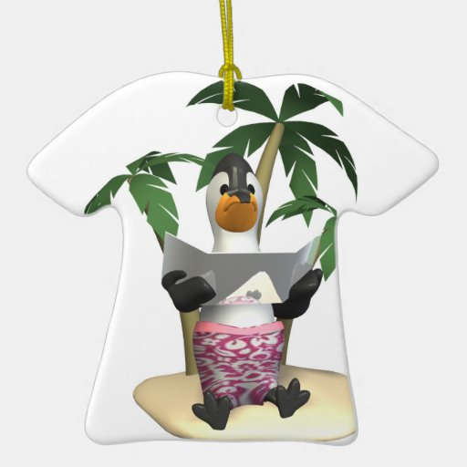 sun tanning penguin Double-Sided T-Shirt ceramic christmas ornament