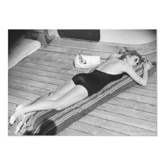 Sun Tanning Woman Card