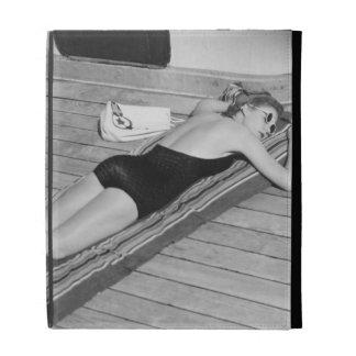 Sun Tanning Woman iPad Folio Cover
