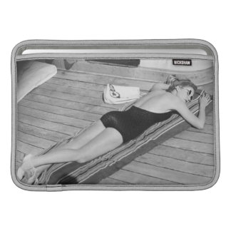 Sun Tanning Woman MacBook Air Sleeve