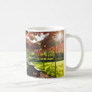 Sun through autumn leaves, Croatia Coffee Mug