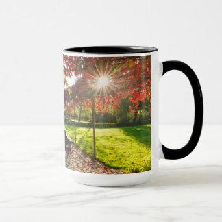 Sun through autumn leaves, Croatia Mug