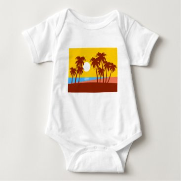 Beach Themed Sun Trees Beach Landscape Nature Sunlight Sky Baby Bodysuit