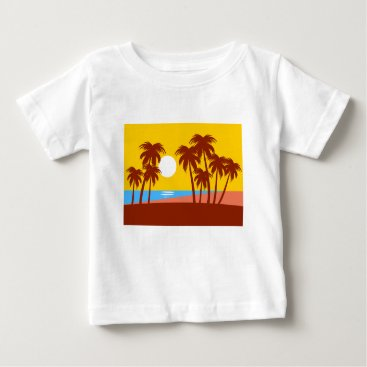 Beach Themed Sun Trees Beach Landscape Nature Sunlight Sky Baby T-Shirt
