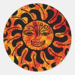Sun tribal etiqueta redonda