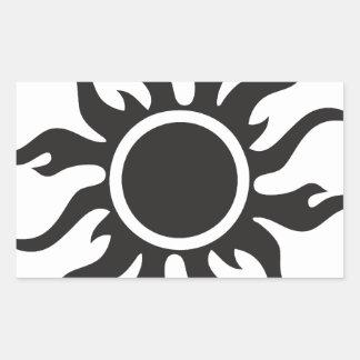 Sun tribal negro pegatina rectangular