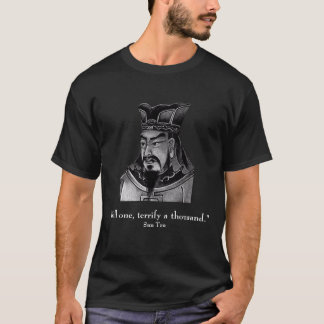 Sun Tzu and quote - front only - black T-Shirt