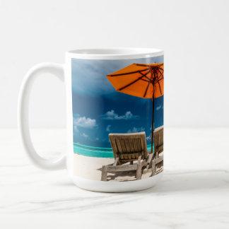 Sun Umbrella On Sandy Beach  Maldives Coffee Mug