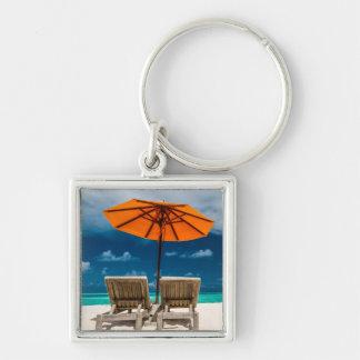 Sun Umbrella On Sandy Beach  Maldives Keychain