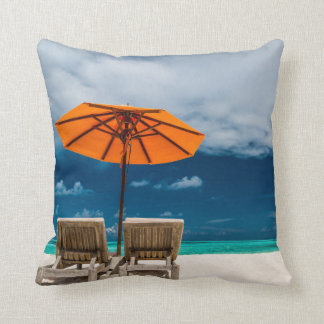 Sun Umbrella On Sandy Beach  Maldives Pillow