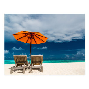 Beach umbrella cards greeting photo cards zazzle sun umbrella on sandy beach maldives postcard m4hsunfo
