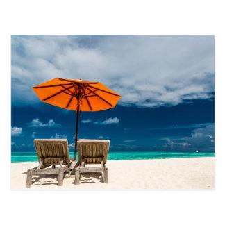 Sun Umbrella On Sandy Beach |Maldives Postcard
