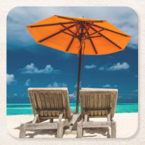 Sun Umbrella On Sandy Beach |Maldives Square Paper Coaster