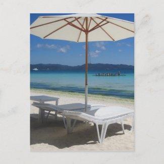 sun umbrella relax postcard