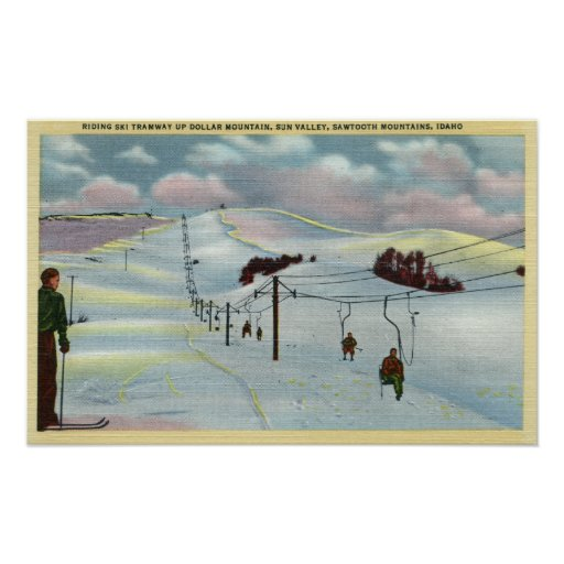 Sun Valley, ID - Sawtooth Mnts. Riding Ski Poster